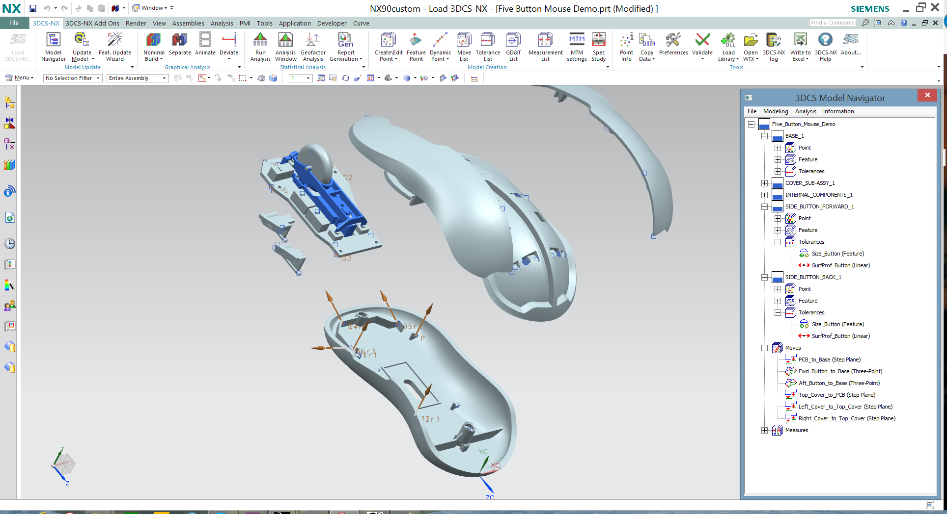 3DCS in NX - Mouse Model - Assembly Sequence Testing